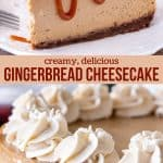 This gingerbread cheesecake is deliciously creamy with warm spices and a hint of molasses. It tastes like Christmas in cheesecake form, and makes for a unique holiday dessert. #cheesecake #gingerbread #holidays #christmas #dessert #cake from Just So Tasty