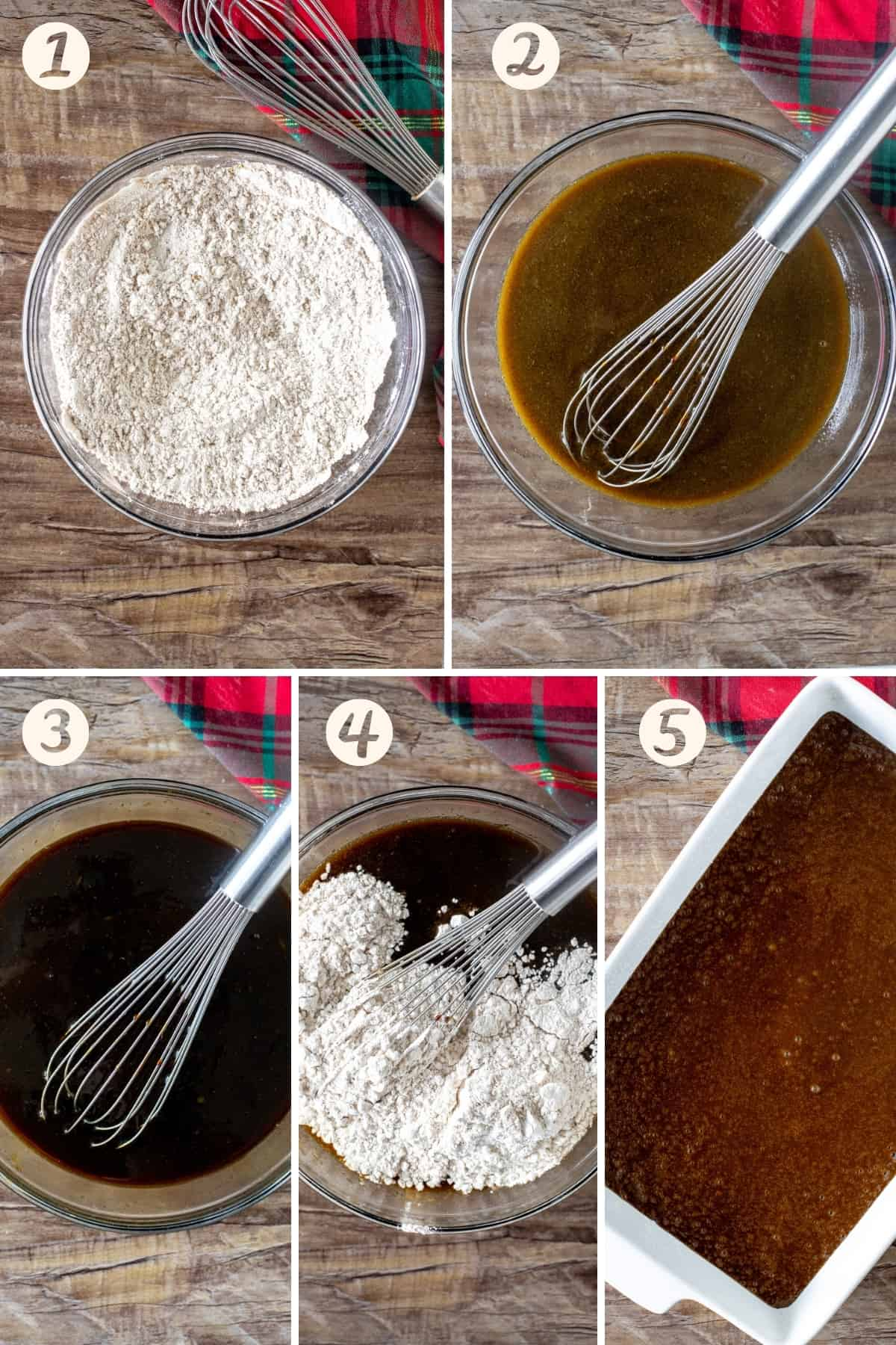 5 photo collage of step-by-step for making gingerbread