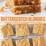 Collage of 2 photos of butterscotch blondies