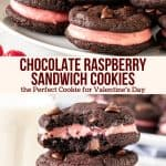 Collage of 2 photos of chocolate raspberry sandwich cookies