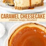 Collage of 2 photos of caramel cheesecake