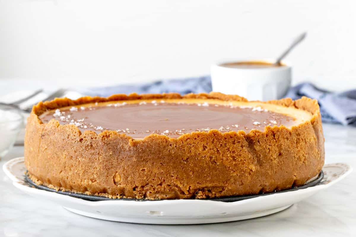 Cheesecake with a graham cracker crust around the sides.