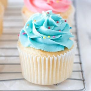 Vanilla cupcake with blue frosting