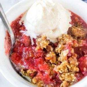 Bowl of strawberry rhubarb crisp