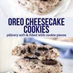 Collage of 2 photos of Oreo cheesecake cookies.