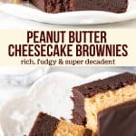 Collage of 2 photos of peanut butter layered brownies