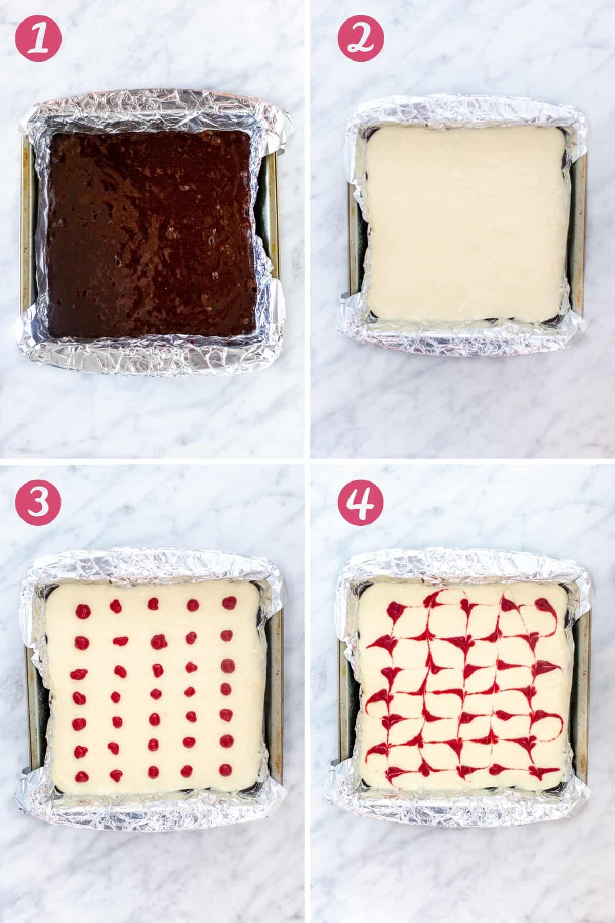 Collage of 4 photos showing how to make layered cream cheese brownies with a raspberry swirl.