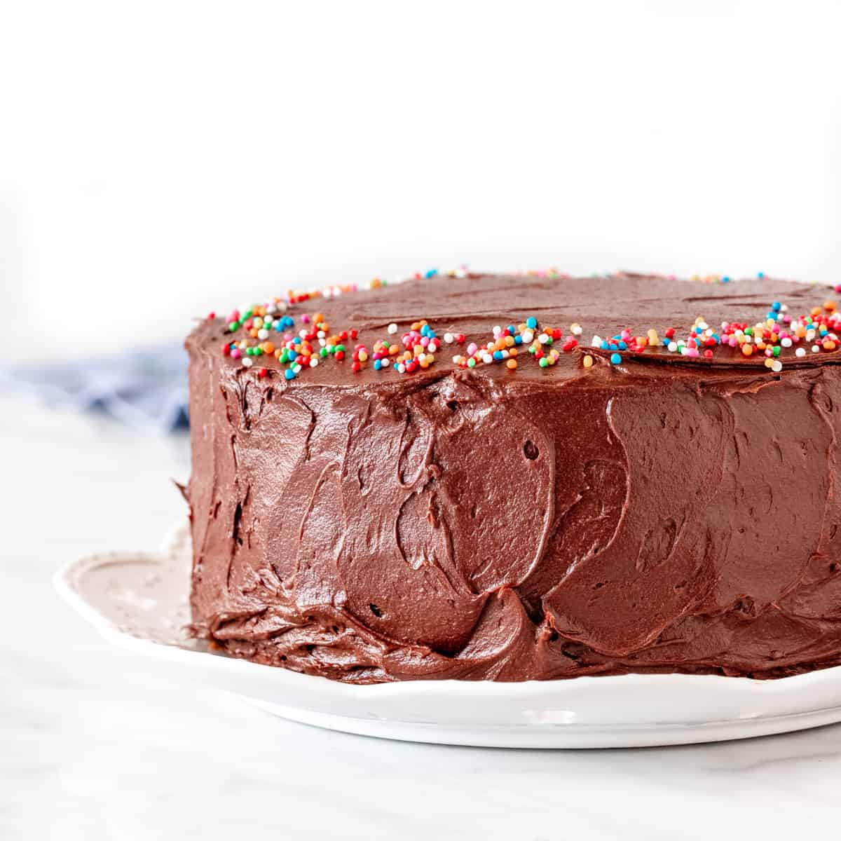 Birthday cake with chocolate frosting