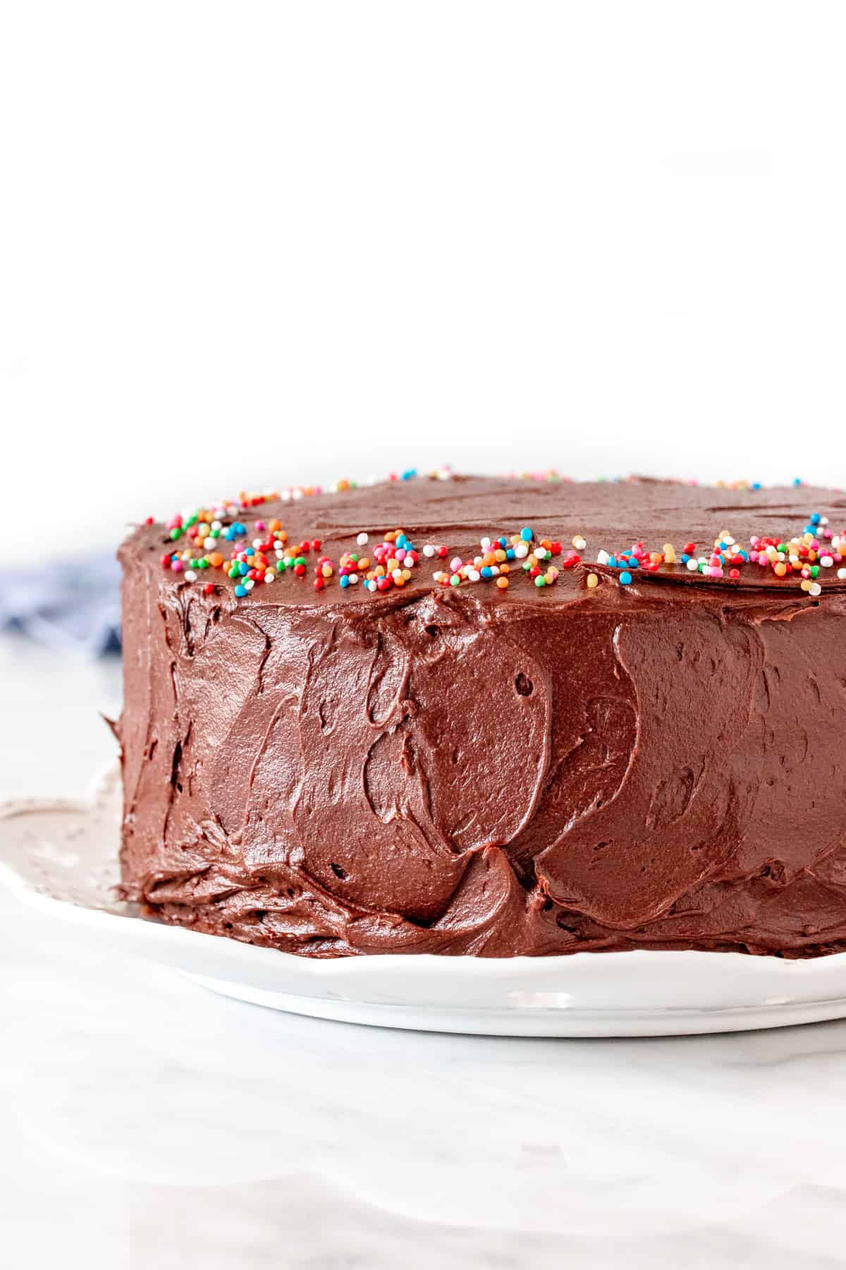 Round layer cake with chocolate frosting