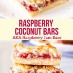 These raspberry coconut bars - AKA raspberry coconut slice - have a buttery shortbread base, a layer of raspberry jam and a coconut macaroon topping. This old-fashioned recipe is simple to make and perfect for coconut lovers. #raspberry #coconut #bars #slice #recipe #raspberryjam #shortbread from Just So Tasty