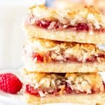Stack of 3 raspberry coconut bars