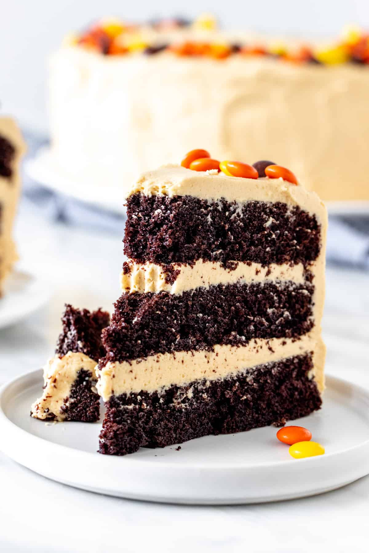Slice of chocolate peanut butter cake with a bite taken out of it.