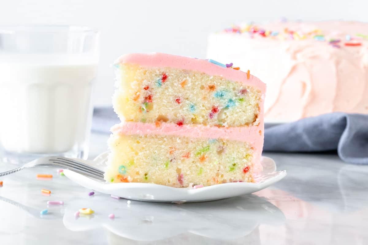 Slice of funfetti layer cake