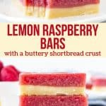 These lemon raspberry bars are the perfect twist on traditional lemon bars. They have a delicious shortbread crust and a layer of tangy lemon raspberry custard. #lemon #raspberry #bars #shortbread #lemonbars #spring #dessert #summer #citrus from Just So Tasty