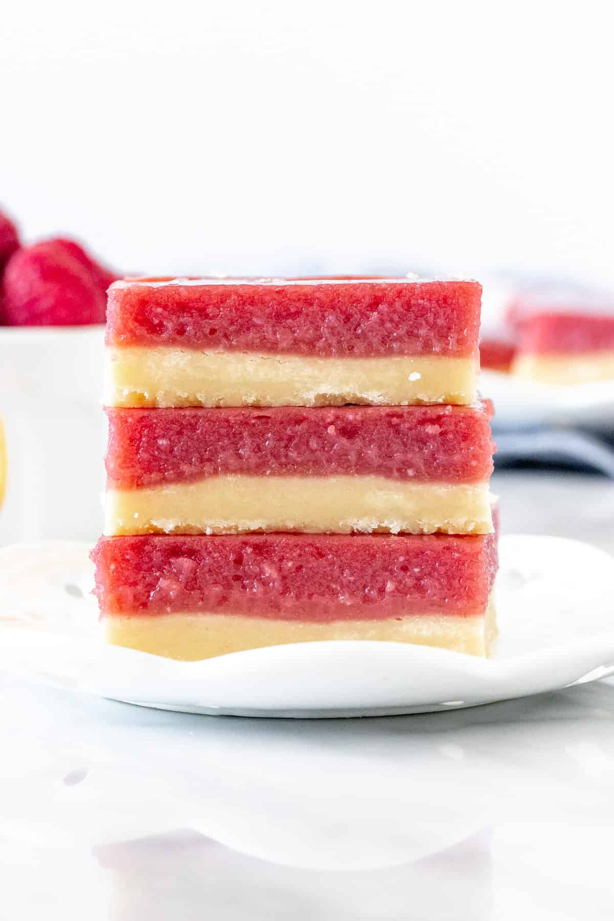 Stack of 3 lemon raspberry bars
