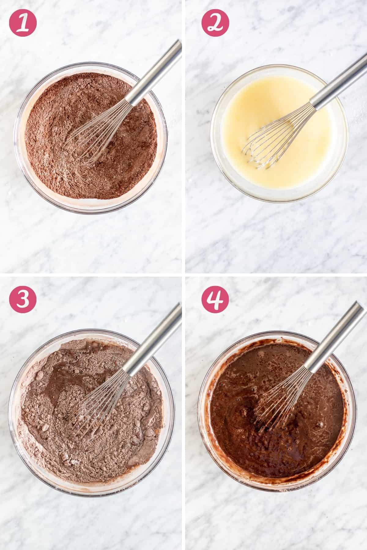 4 step process of making chocolate cake batter