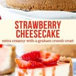Creamy cheesecake filling, a thick graham cracker crust, and juicy strawberry topping - this Strawberry Cheesecake is the perfect recipe. You'll feel like a professional baker with this gorgeous dessert. #cheesecake #strawberries #strawberrycheesecake #strawberrytopping #summer #dessert from Just So Tasty