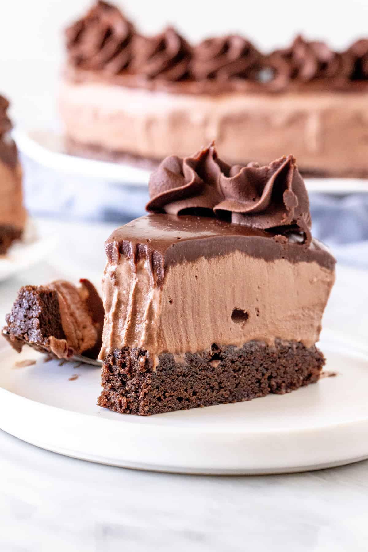 Slice of ice cream cake with a bite.