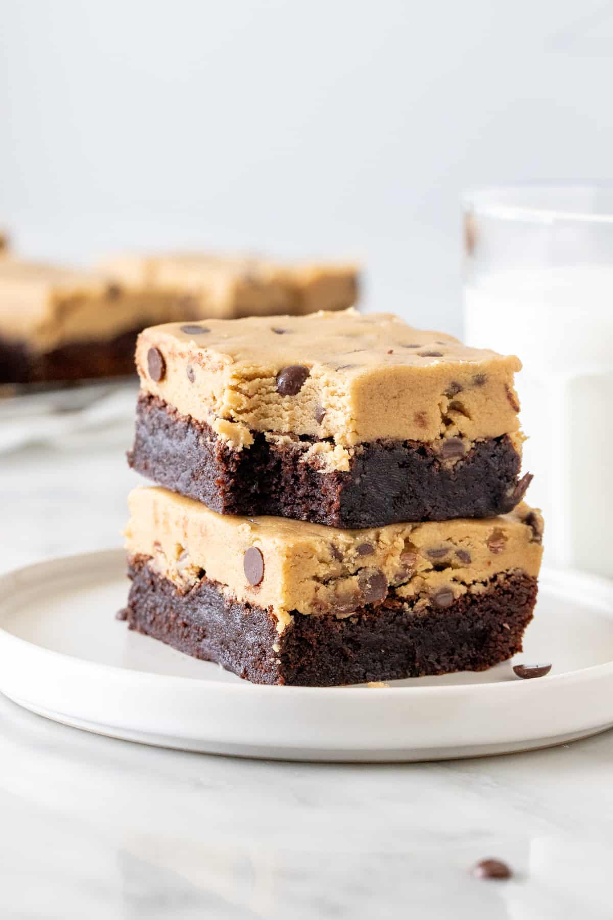 2 Chocolate chip cookie dough brownies on a plate