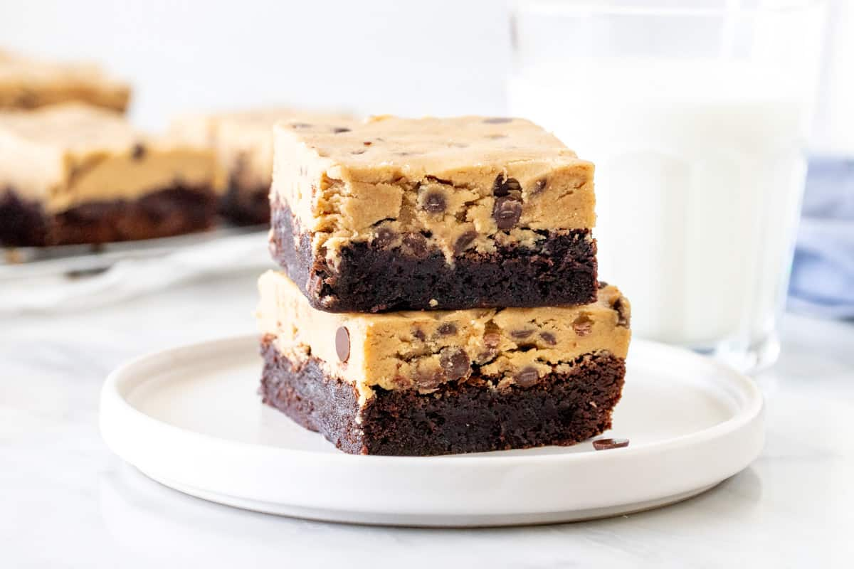 Stack of 2 brownies topped with cookie dough