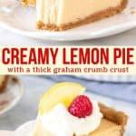 Collage of 2 photos of lemon pie