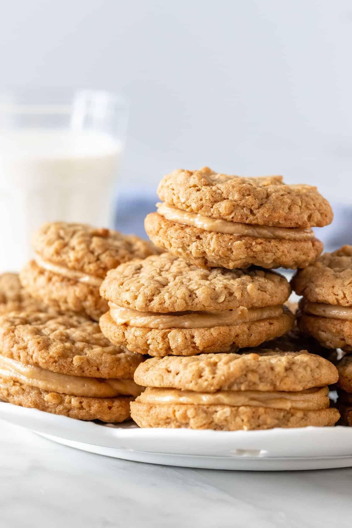 Plate of peanut butter sandwich cookies.