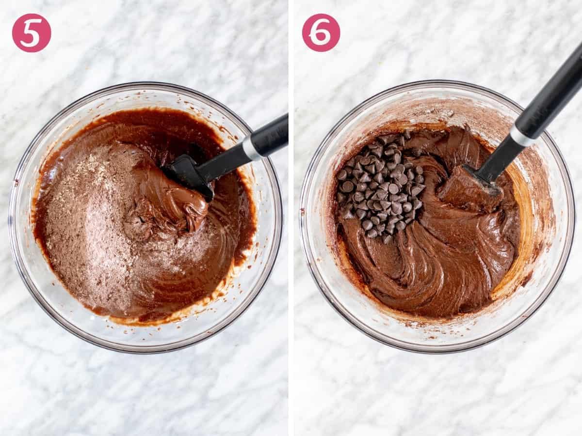 2 photos of brownie cookie dough