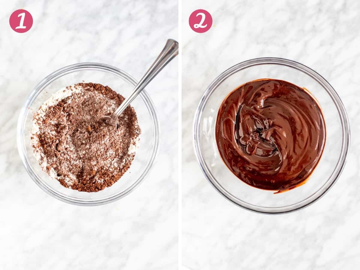 Collage of 2 photos: bowl of cocoa and flour whisked together & a bowl of melted chocolate.