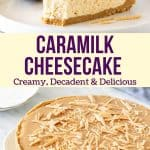 There's good reason why everyone in Australia and New Zealand is obsessed with Caramilk. So why not turn your favorite chocolate block into a decadent cheesecake? It's extra creamy with a delicious Caramilk flavour - plus, this recipe is completely no-bake.#caramilk #cheesecake #australian #aussie #nobake #easy #recipe from Just So Tasty