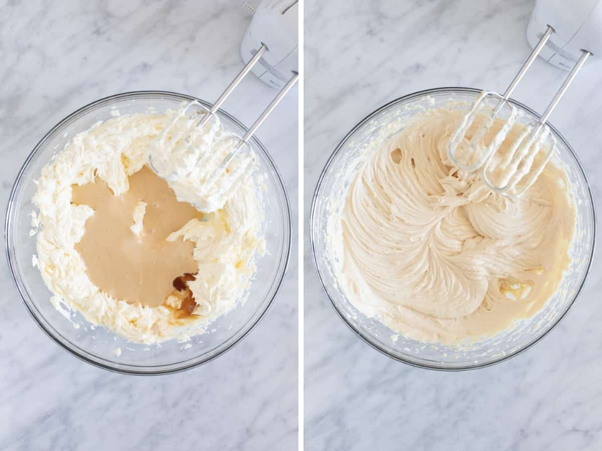 Collage of 2 photos of making no-bake cheesecake filling