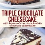 Collage of 2 photos of cheesecake