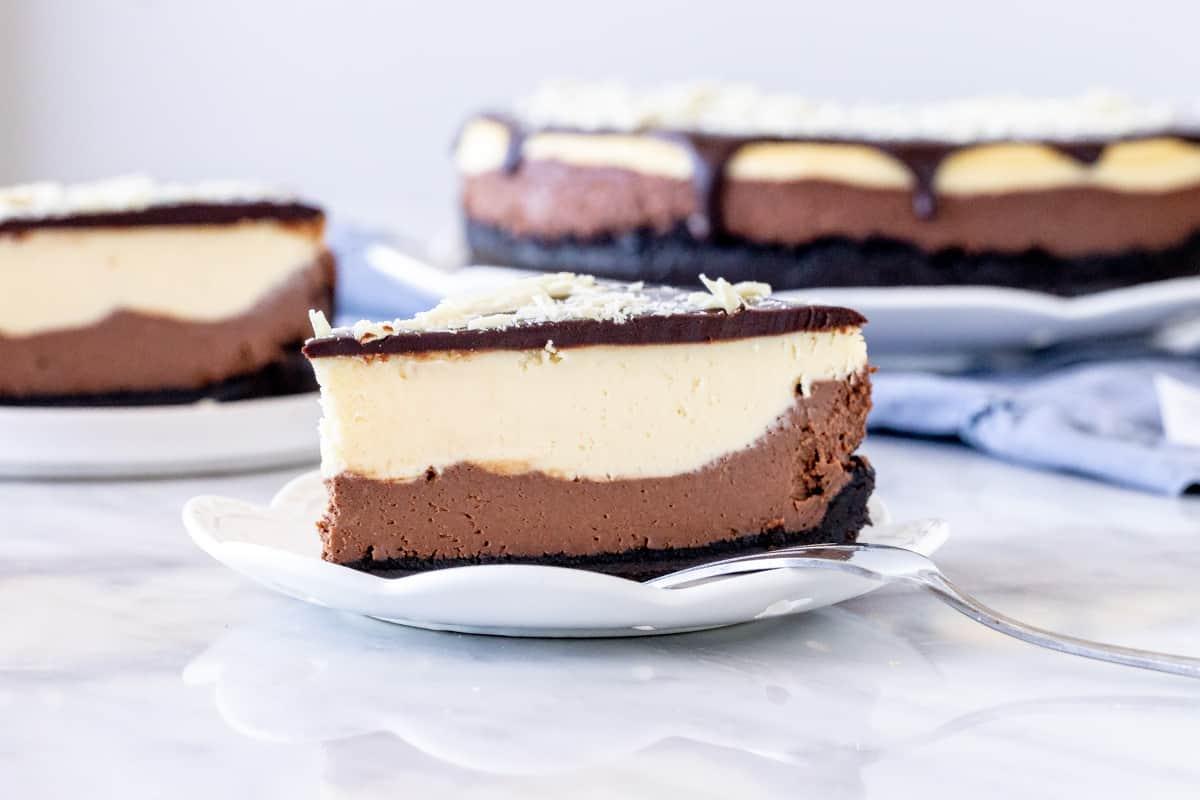 Slice of chocolate, white chocolate cheesecake
