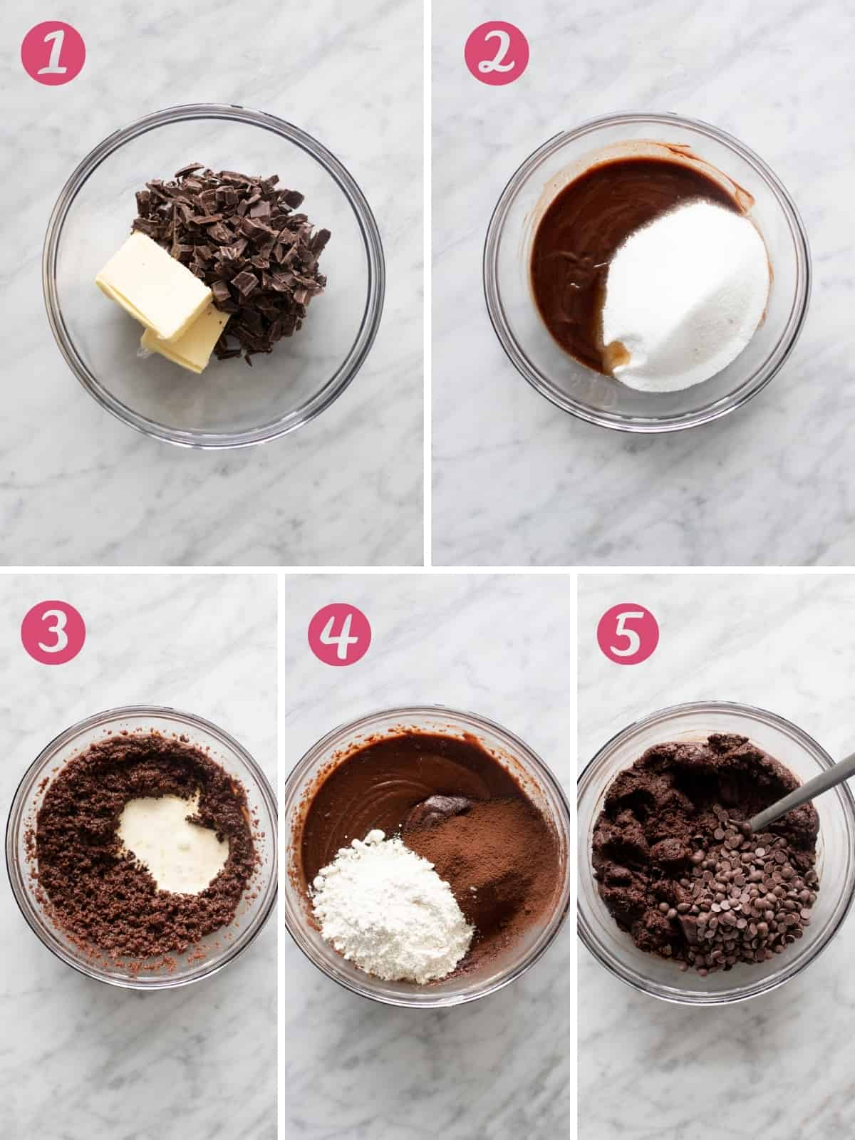 Collage of 5 photos of making brownie batter