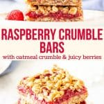 Collage of 2 photos of raspberry bars