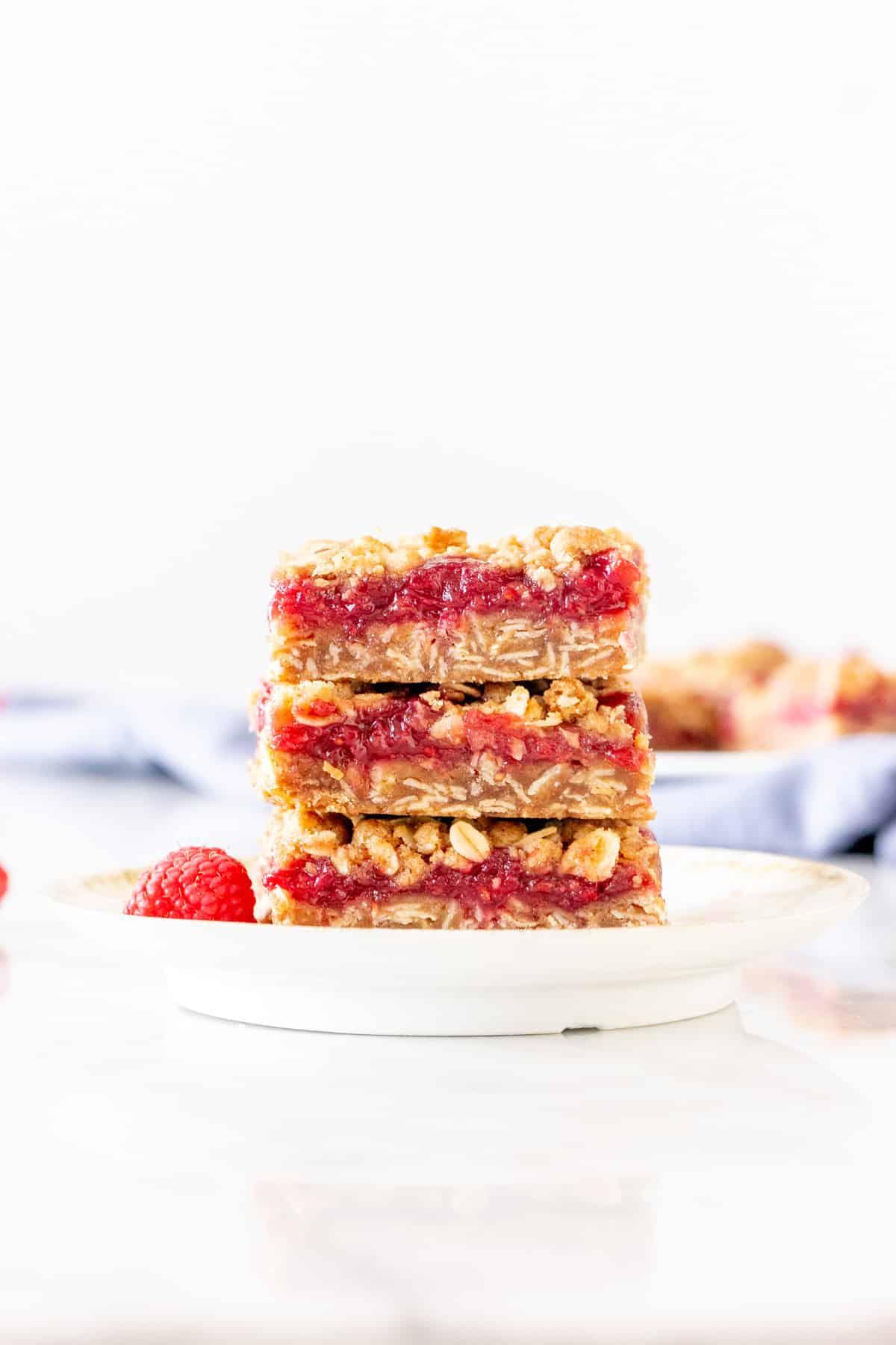 Stack of 3 raspberry crumble bars