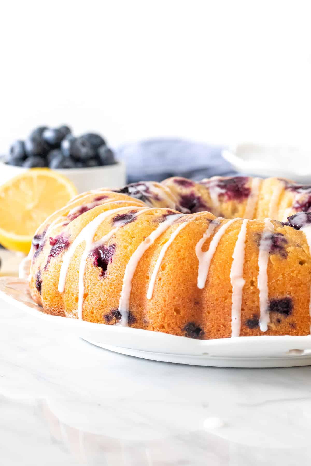 Lemon blueberry bundt cake with a drizzle of lemon glaze