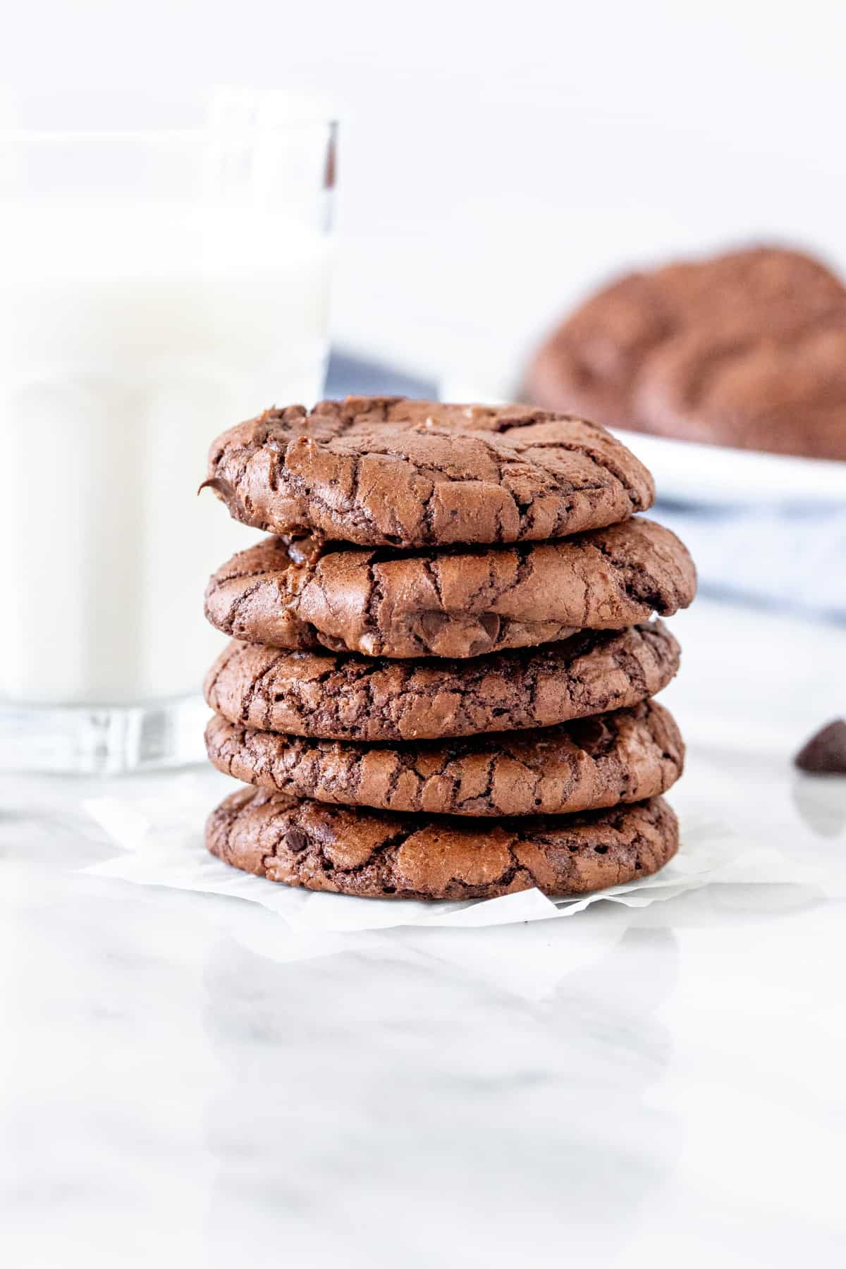 5 brownie cookies stacked on top of each other.