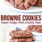 These brownie cookies have crinkly tops, a rich chocolate flavor and fudgy centers. They truly taste like a brownie, but in bite-sized form.#cookies #brownies #fudge #easy #chocolate #browniecookies #chocolatecookies #recipe from Just So Tasty