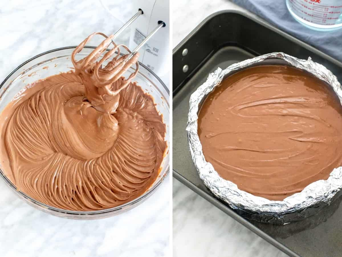 Chocolate cheesecake batter, and unbaked cheesecake in a waterbath.