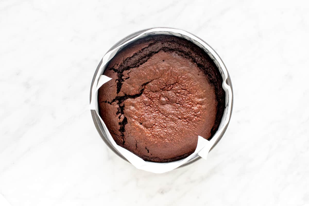 Baked chocolate mud cake in a pan