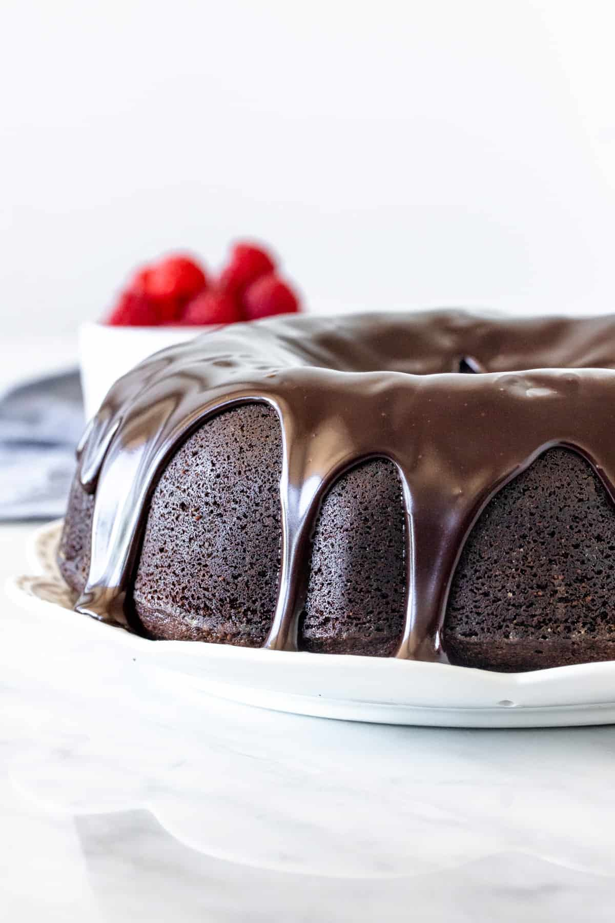 Chocolate pound cake with chocolate drizzled on top