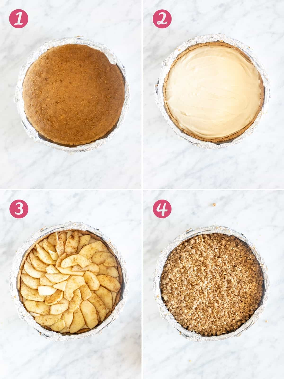Collage of 4 photos of assembling apple crisp cheesecake