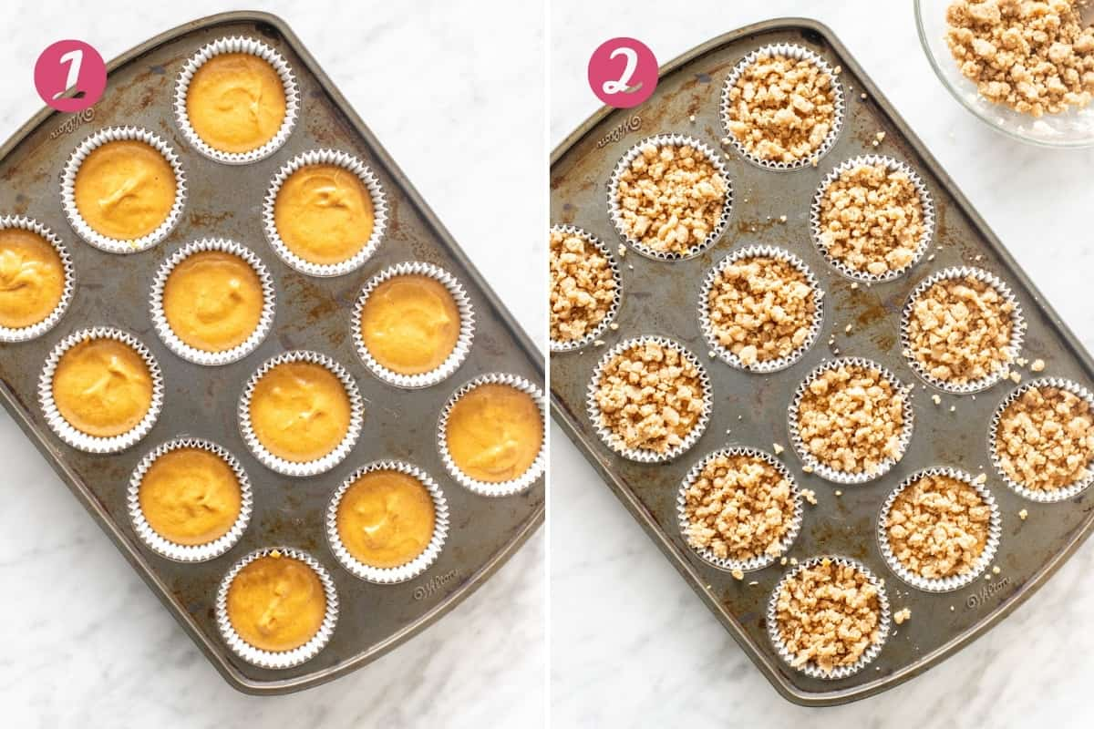 Collage of 2 muffin pans with batter