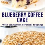 Collage of 2 photos of blueberry coffee cake