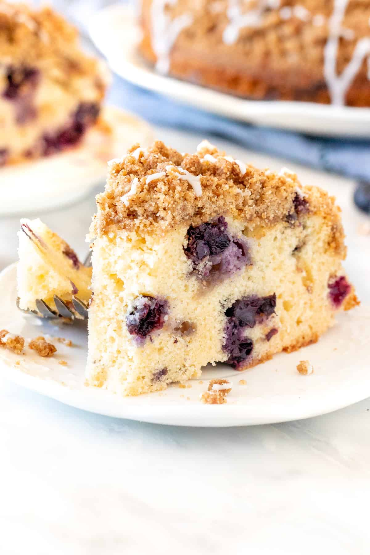 Slice of blueberry cake with cinnamon streusel on top with bite taken out of it