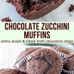 Collage of 2 photos of chocolate zucchini muffins