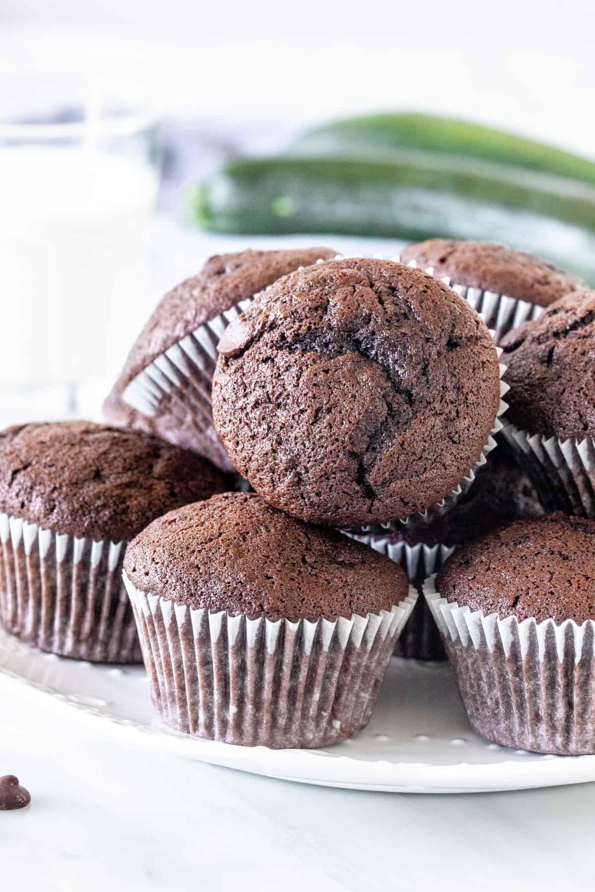 Plate of chocolate zucchini muffins