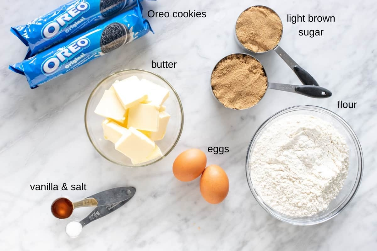 Ingredients for making Oreo bars