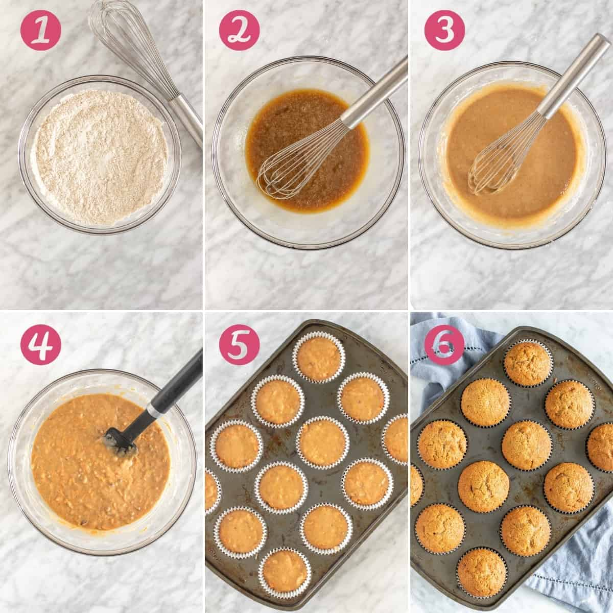 6 photos showing steps for making carrot muffins