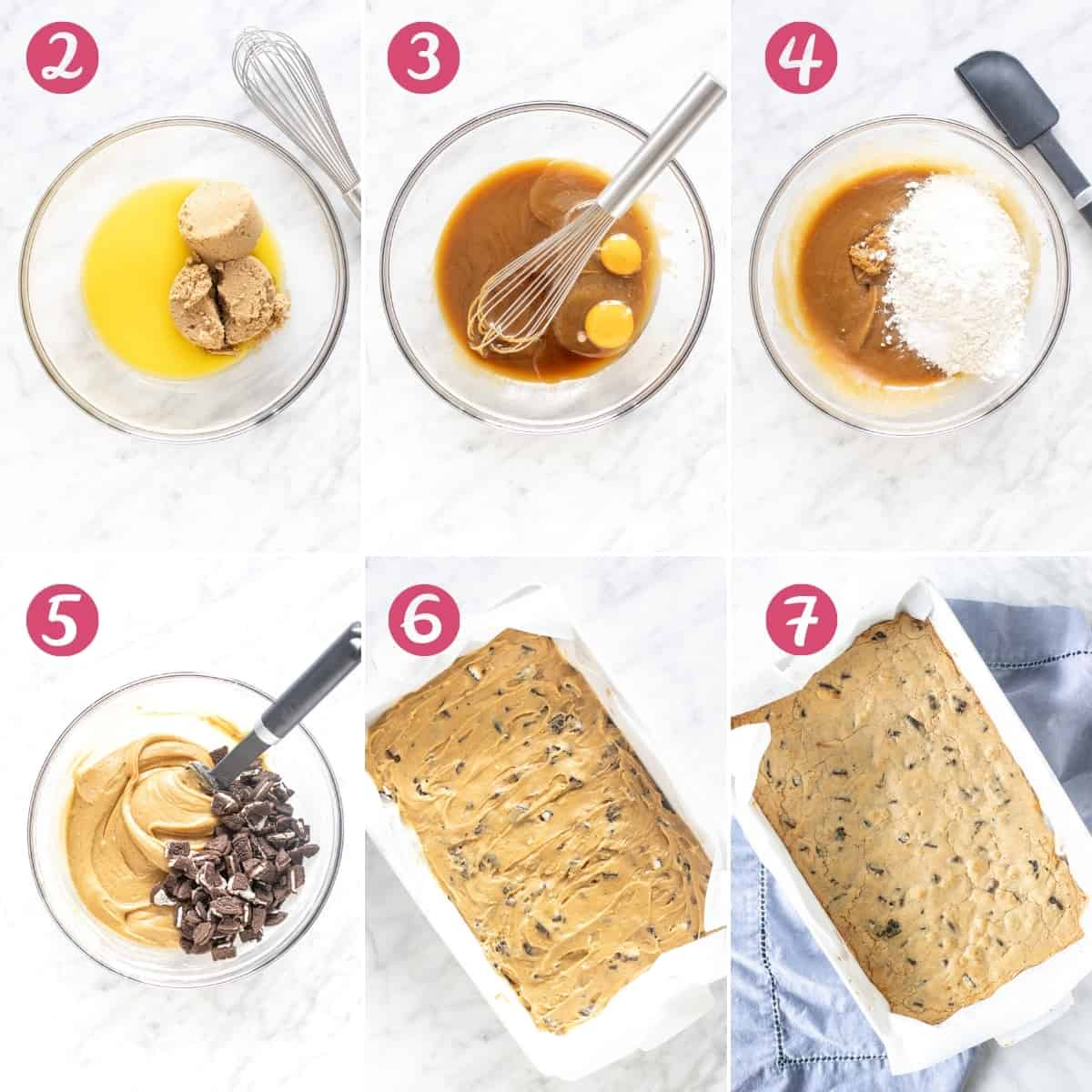 Collage of step by step photos of making cookies and cream blondies